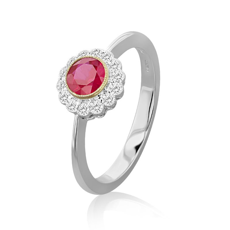 18ct White Gold Ruby & Diamond Round Cluster Ring