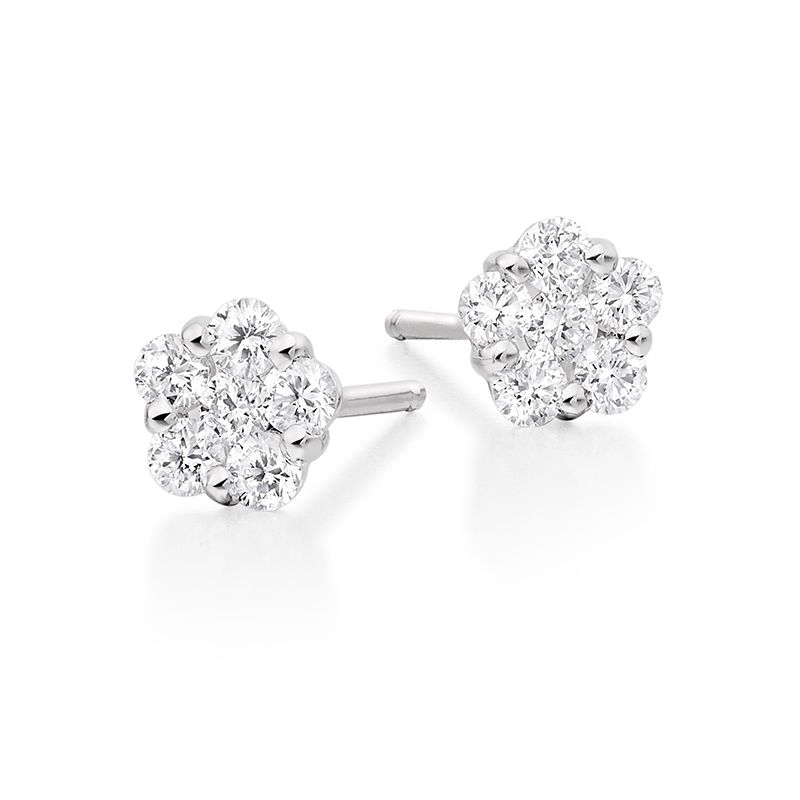 18ct White Gold Diamond Cluster Studs - 0.36ct