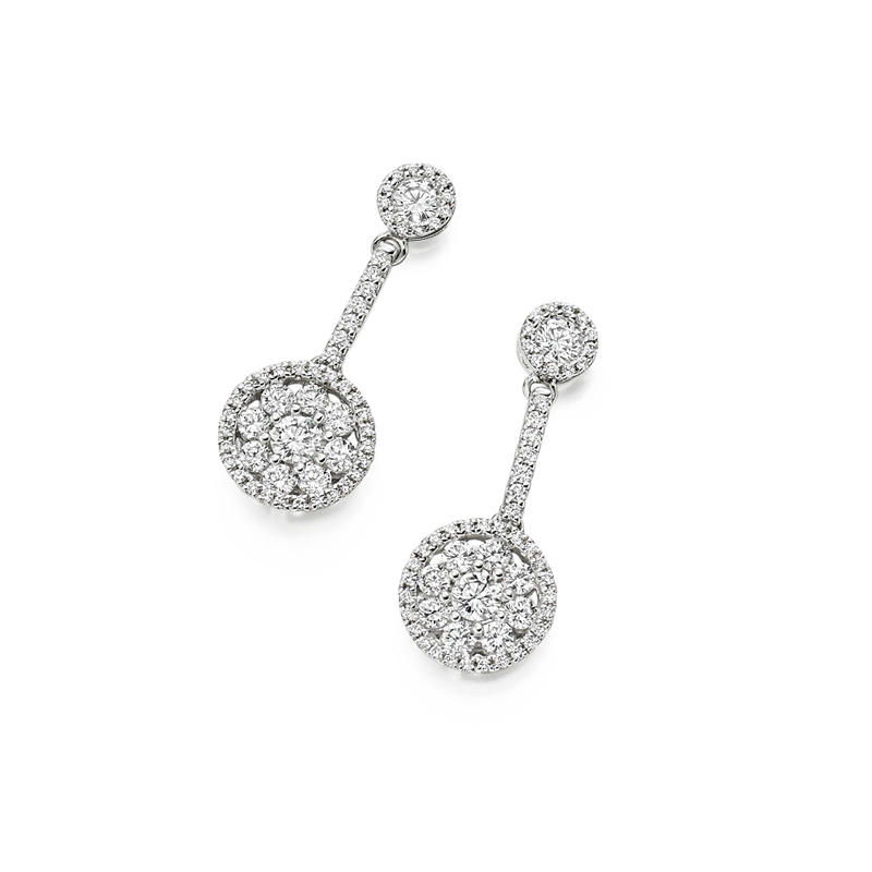 18ct White Gold & Diamond Circular Drop Earrings