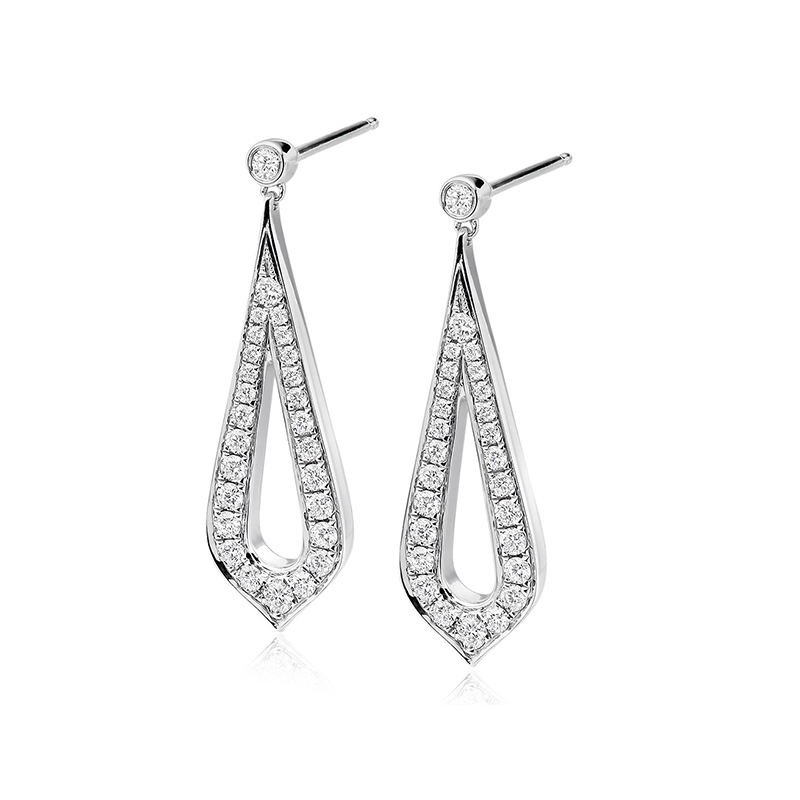 These stunning drop earrings are crafted in 18ct white gold and feature an open tear design set with dazzling diamonds with a post and butterfly fitting.