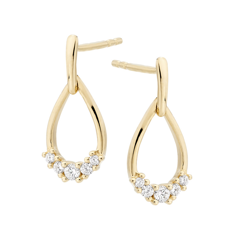 18ct Yellow Gold & Diamond Open Tear Shape Drop Earrings