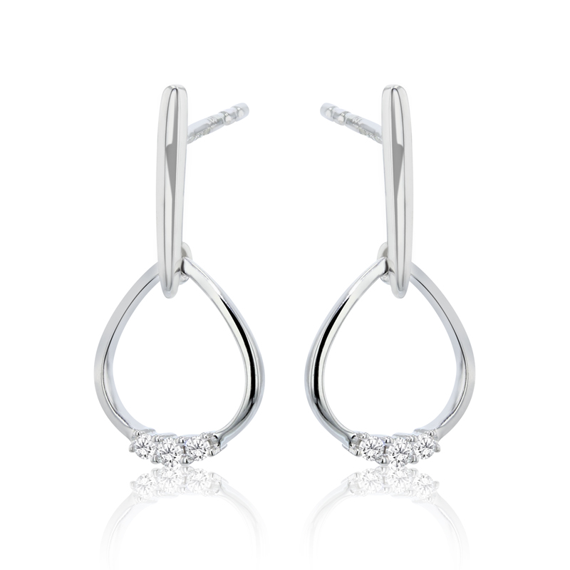 9ct White Gold & Diamond Open Pear & Bar Drop Earrings