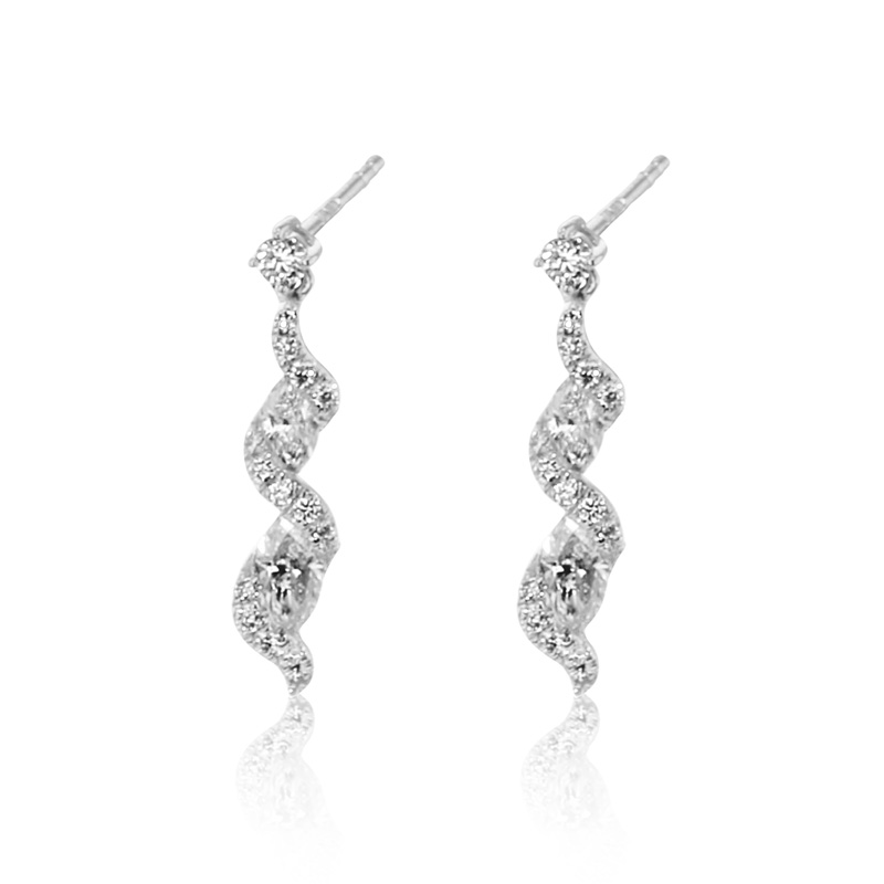 18ct White Gold Marquise & Brilliant Cut Diamond Twisty Earrings