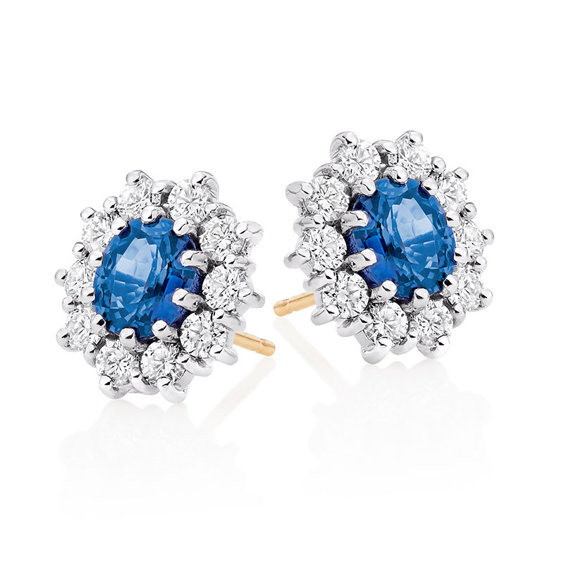 18ct Gold Oval Sapphire & Diamond Cluster Stud Earrings