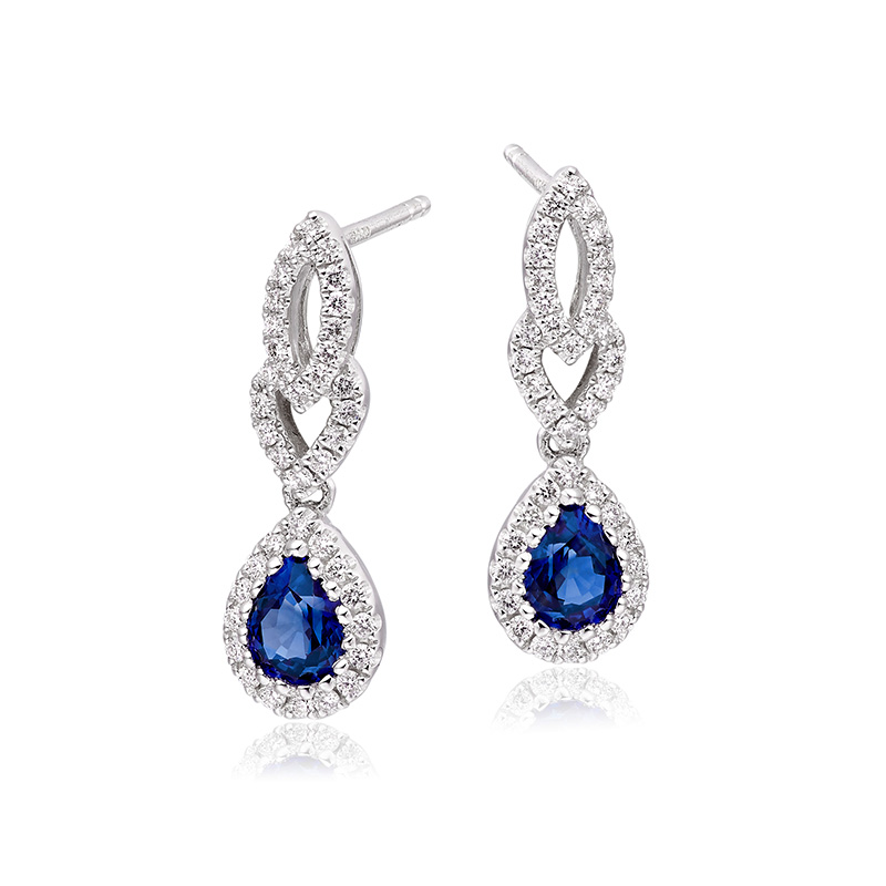 18ct Sapphire & Diamond Fancy Drop Earrings