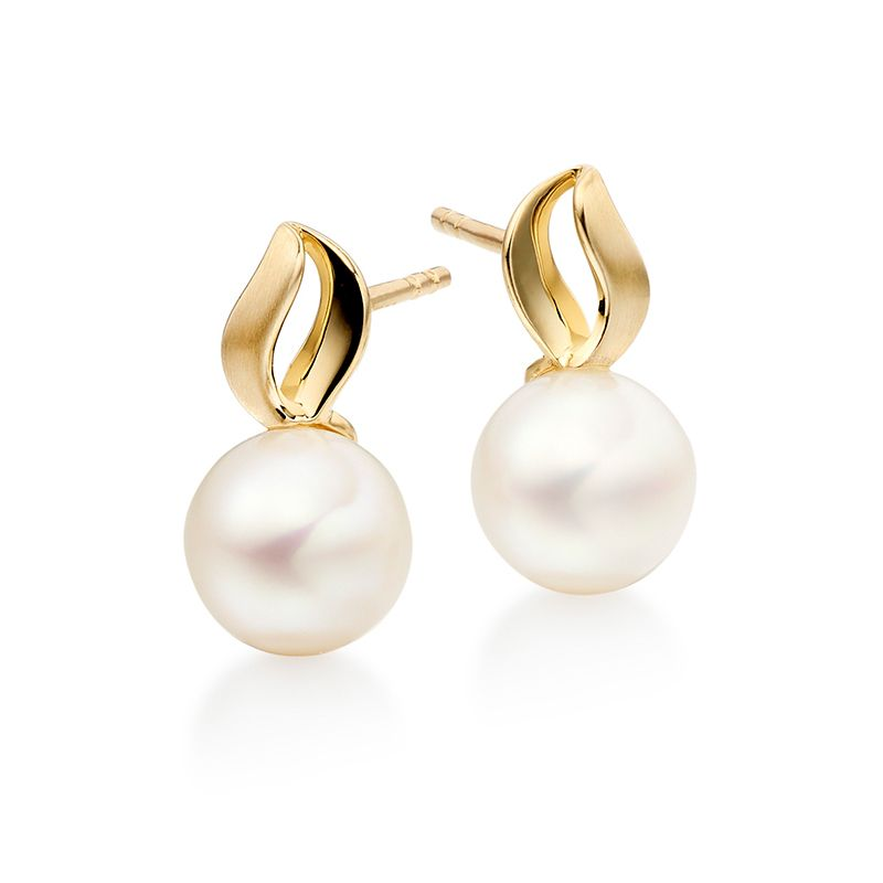 9ct Yellow Gold & Pearl Leaf Top Stud Earrings