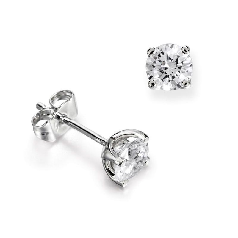 18ct White Gold & Diamond Claw Setting Stud Earrings - 0.38ct