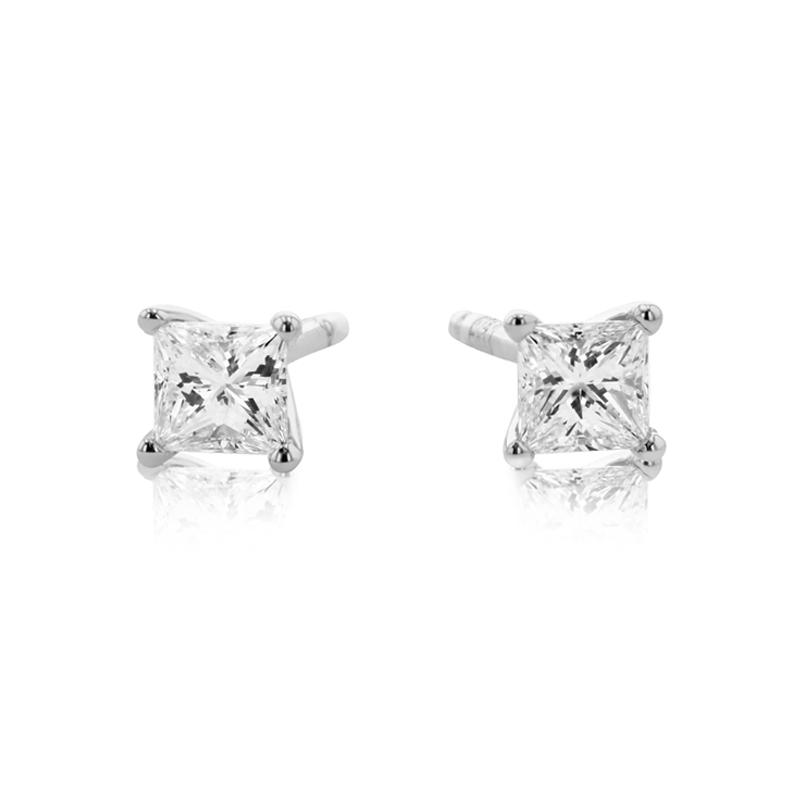 18ct White Gold Four Claw Princess Cut Diamond Stud Earrings