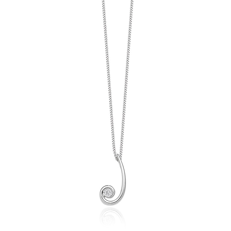 9ct White Gold & Diamond Swirl Pendant