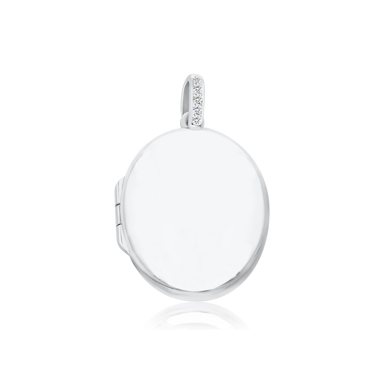 9ct White Gold & Diamond Oval Locket