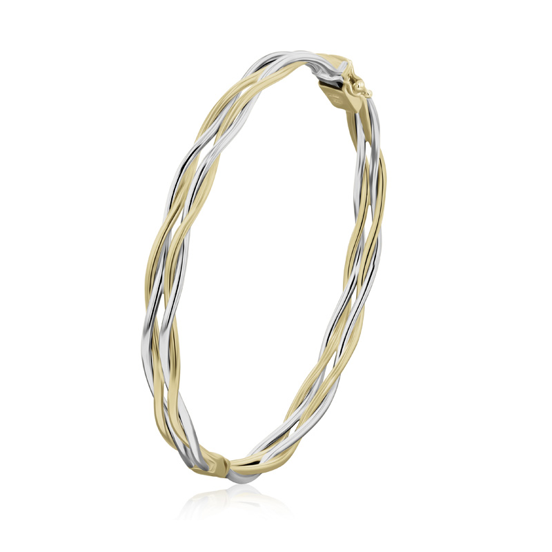 9ct Yellow & White Gold Double Entwined Strands Oval Bangle