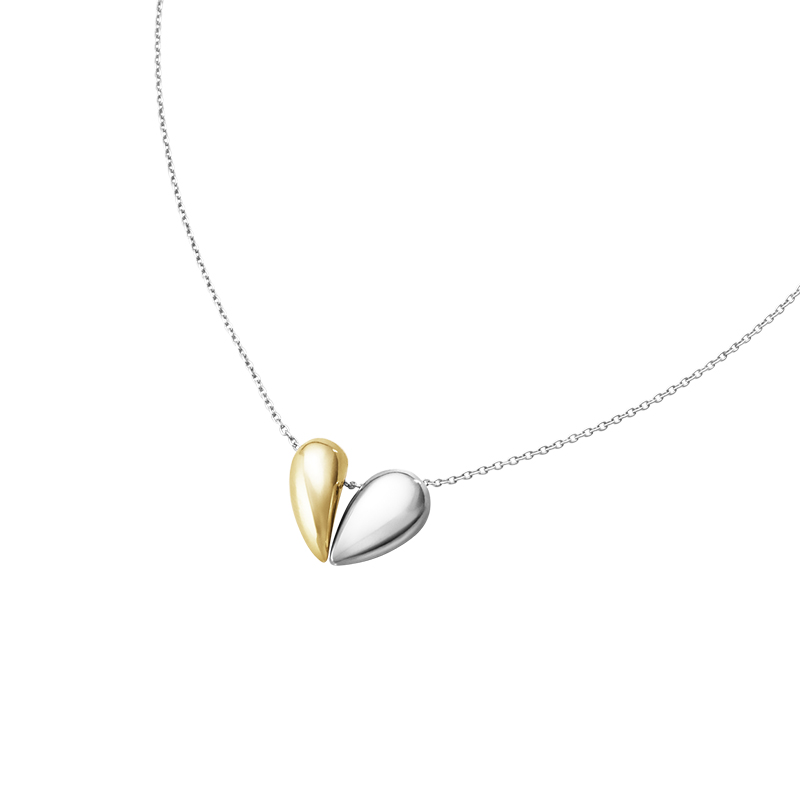 Georg Jensen Silver & 18ct Gold Curve Heart Pendant