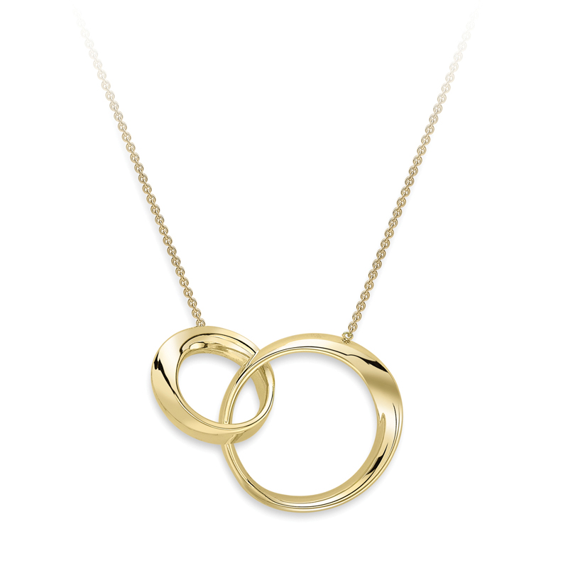 9ct Yellow Gold Double Circle Pendant - 17""