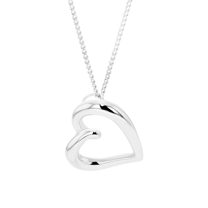 9ct White Gold Open Twisted Heart Pendant