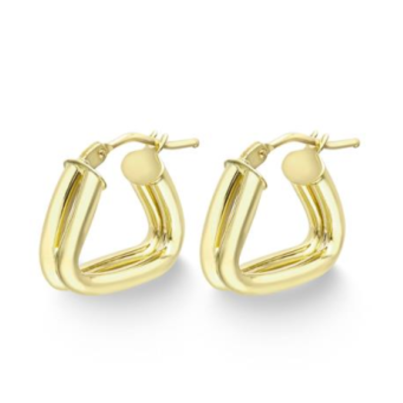 9ct Yellow Gold Two Strand Open Triangle Hoop Earrings