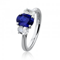 18ct White Gold Sapphire & Diamond Oval Cut Three Stone Ring