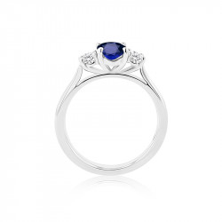 18ct White Gold Sapphire & Diamond Three Stone Ring