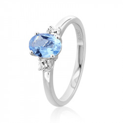 18ct White Gold Aquamarine & Diamond Three Stone Ring