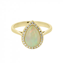 18ct Yellow Gold Pear Shaped Opal & Diamond Cluster Ring