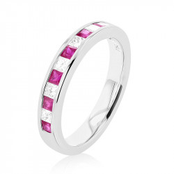 18ct White Gold Diamond & Ruby Channel Set Eternity Ring