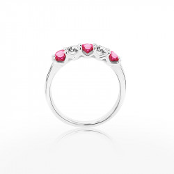 Platinum Ruby & Diamond Five Stone Eternity Style Ring