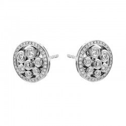 18ct White Gold & Diamond Circle Bubble Cluster Stud Earrings