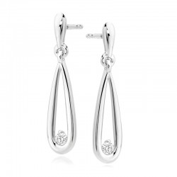 18ct White Gold & Diamond Elongated Pear Drop Earrings