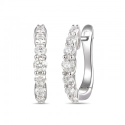 18ct White Gold & Diamond Claw Set Hoop Earrings