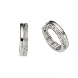 14ct White Gold & Diamond Two Row Huggy Hoop Earring