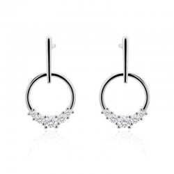 14ct White Gold & Diamond Circle & Bar Drop Earrings