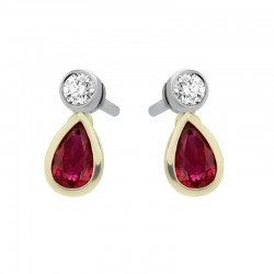 18ct Yellow Gold Ruby & Diamond Pear Rub Over Earrings