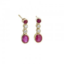 18ct Yellow Gold Ruby & Diamond Drop Earrings