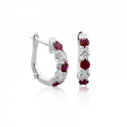 18ct White Gold Ruby & Diamond Hoop Earrings