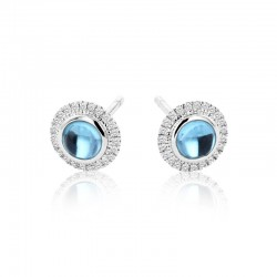 18ct White Gold Blue Topaz & Diamond Halo Style Stud Earrings