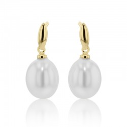 18ct Yellow Gold & Freshwater Pearl Drop Earrings