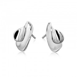 Silver Overlapping Concave Leaf Shape Stud Earrings