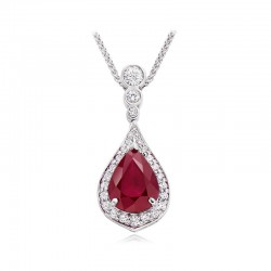 18ct White Gold Ruby & Diamond Pear Shaped Pendant