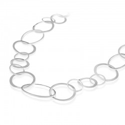 Silver Long Open Oval & Bent Circle Link Necklace