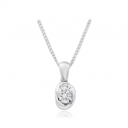18ct White Gold & Diamond Twisted Rub-Over Pendant - 0.54ct