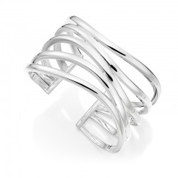 Silver Five Wavy Row Torc Style Bangle