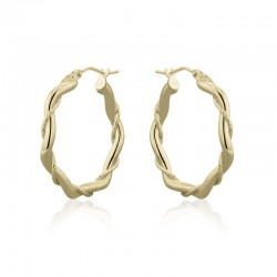 9ct Yellow Gold Entwined Plain & Etched Strand Hoops