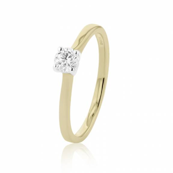 18ct Yellow & White Gold Diamond Solitaire Ring - 0.23ct