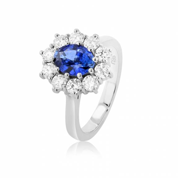 Platinum Oval Sapphire & Diamond Cluster Style Ring