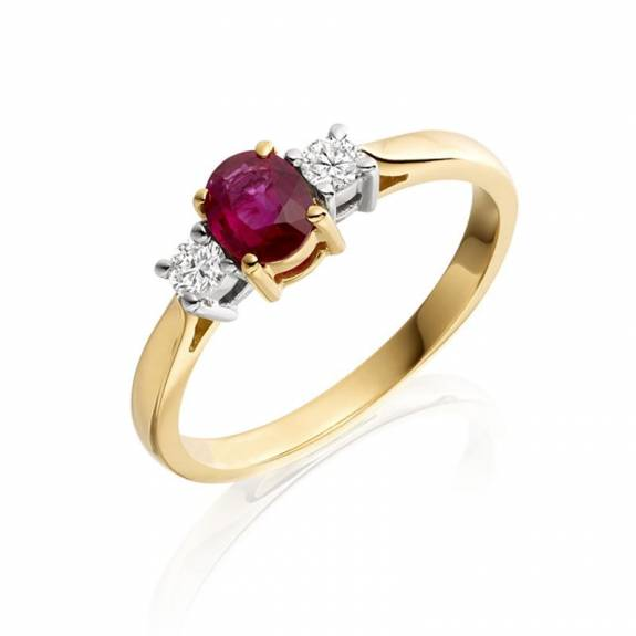 18ct Yellow Gold Ruby & Diamond Trilogy Style Ring