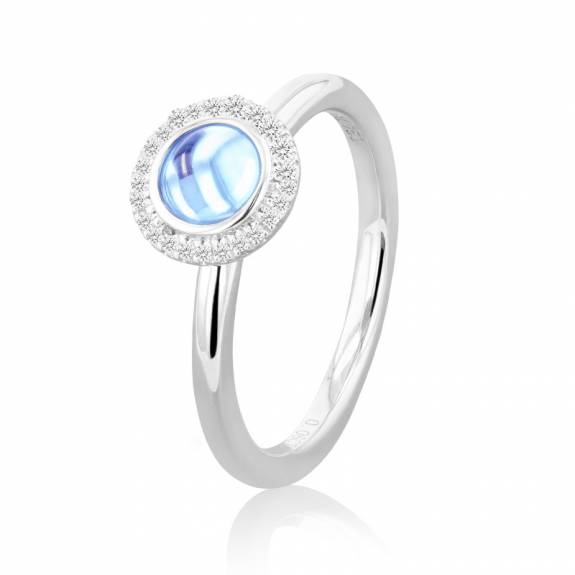 18ct White Gold Blue Topaz & Diamond Halo Style Ring