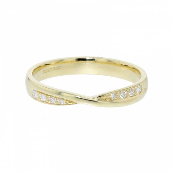 18ct Yellow Gold & Diamond Twisted Ribbon Style Ring