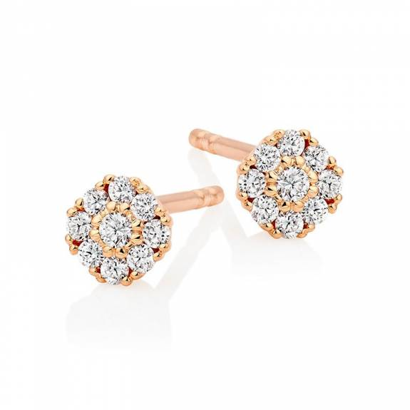 14ct Rose Gold & Diamond Mini Cluster Stud Earrings