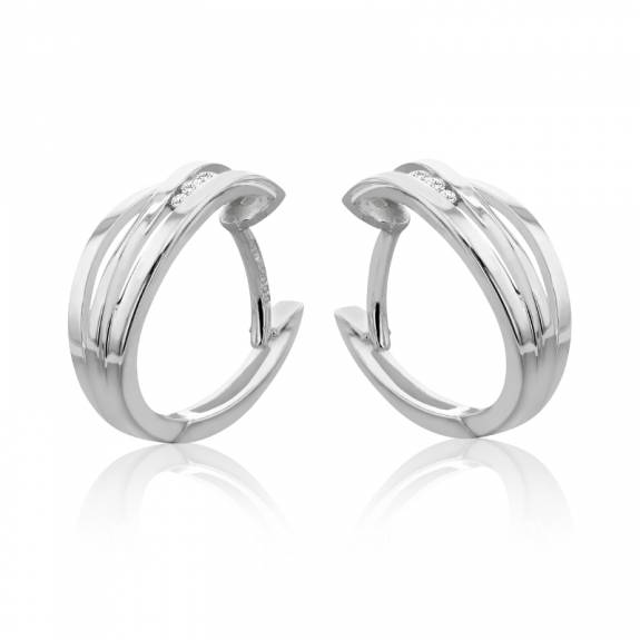 9ct White Gold & Diamond Three Strand Hoop Earrings