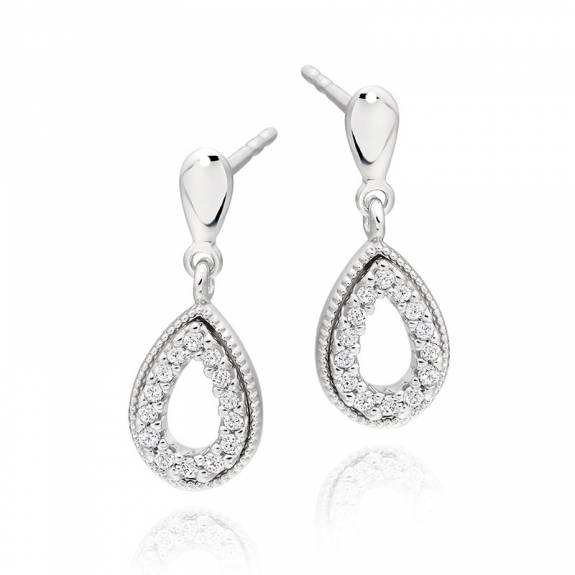 9ct White Gold & Diamond Open Pear Shaped Drop Earrings