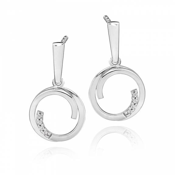 9ct White Gold & Diamond Overlapping Circle Drop Earrings